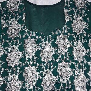 Dresses - Green Sequin Short Sleeve Kurti